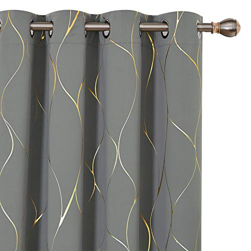 Deconovo Grey Blackout Curtains 84 Inches Long, Gold Wave Pattern Grommet Thermal Curtains, Room Darkening Window Drapes for Bedroom, 52W x 84L Inch, Light Grey, Set of 2 Panels