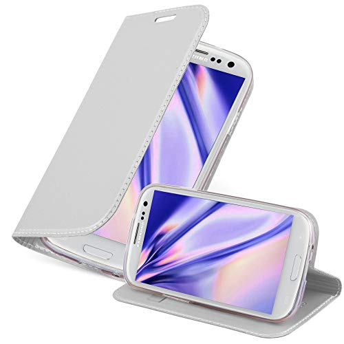 Cadorabo Custodia Libro per Samsung Galaxy S3 / S3 NEO in CLASSY ARGENTO – con Vani di Carte, Funzione Stand e Chiusura Magnetica – Portafoglio Cover Case Wallet Book Etui Protezione