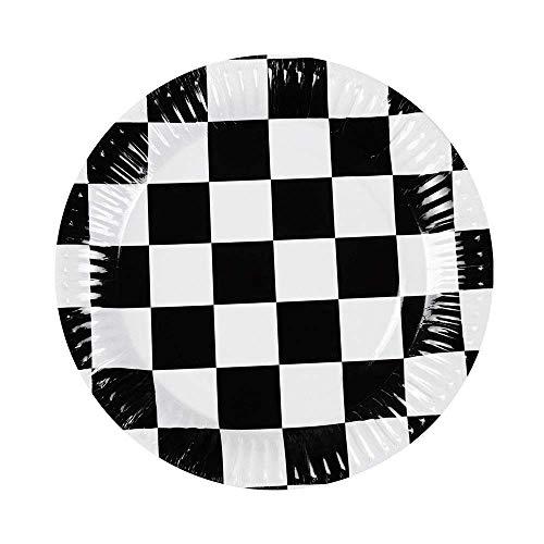 Boland 44752 -  Partygeschirr Teller Racing, 6 Stück, Durchmesser 23 cm, Zielflagge, Pappteller, Papierteller, umweltfreundlich, Einweggeschirr, Einwegteller, Servierplatte, Geburtstag, Motto Party