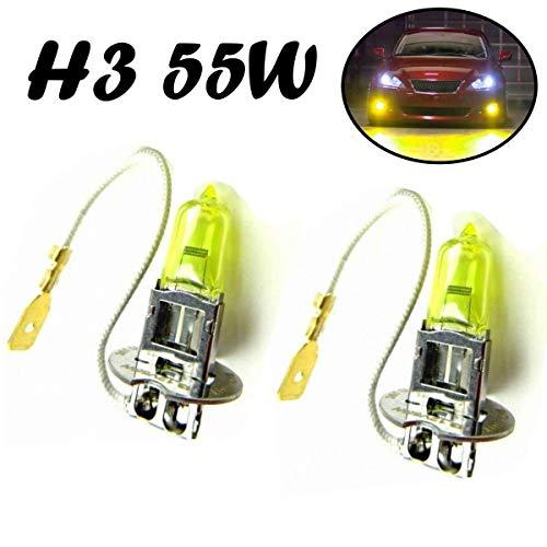 2x H3 55W 12V Gelb Aqua Vision Yellow Original Jurmann Trade Ersatz Halogen Birne für Scheinwerfer, Fernlicht, Abblendlicht, Nebelleuchte vorne - E-geprüft