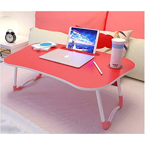 Laptop bureau voor Bed LAPTOP STAND Grote Opvouwbare Notebook Table Portable Lap Permanent Bureau met de Kop van Slot Breakfast Bed Tray Book Holder for Sofa Terras Balkon Tuin (Kleur: Roze)