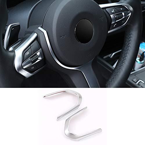 Lenkrad Taste Dekorativer Rahmen verdickt Ausschnitt Abdeckung 2pcs Auto Innenraum Zubehör für 1 3 Series F20 F22 F30 F32 F12 F25 F15 F16 X5 X6 M-sport silber (Silber)