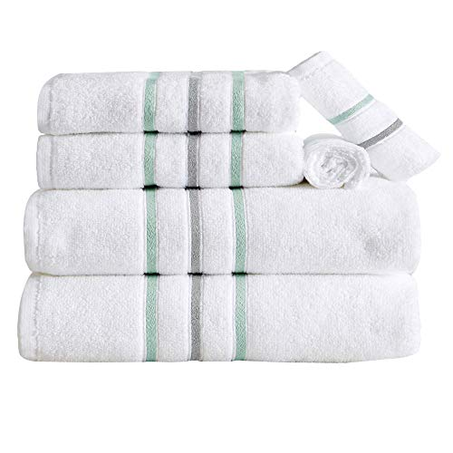 6-Piece Towel Set. Lightweight 100% Cotton Quick Dry Bathroom Towels. Woven Striped Detail Absorbent Towels. Set Includes 2 Bath, 2 Hand, and 2 Wash. Hallie Collection. (6 piece, Eucalyptus/Grey)