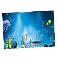 Fenteer 高精細3D魚植物魚画像接着剤バックラウンドに水族館 - 76x56cm