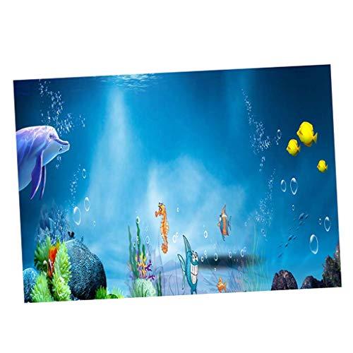 Baoblaze Aquarium 3D Druck Tropische Fischpflanzen Hintergrund Single - Delphin, M