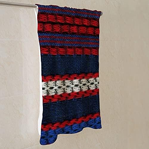 Toalla de baño de microfibra de 71 x 139 cm, rayas retro, color rojo, blanco y azul hippy rayas, de secado rápido, ligera, multiusos como toalla de playa, toalla deportiva, toalla de mano