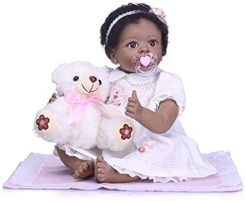 22 Pulgadas 55 cm Realista Silicona Suave Tamaño de bebé Real Afroamericana Niña recién Nacida Negro Reborn Baby Dolls se Ven Reales y se sienten Reales
