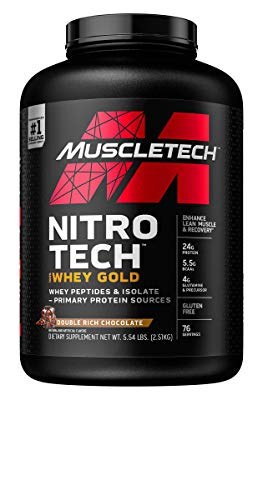 MuscleTech Nitro-Tech Whey Gold Protein Powder, Whey Isolate and Peptides, 24 Grams Protein, 5.5 Grams BCAAs, Easy to Mix, Double Rich Chocolate, 5.5 Pounds (76 Servings)(Packaging May Vary)