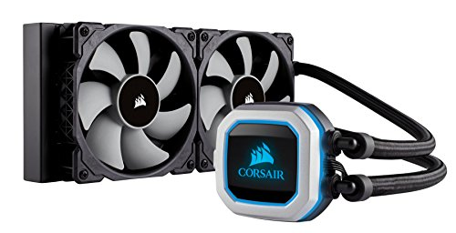 Corsair Hydro Series H100i PRO RGB AIO Liquid CPU Cooler, 240mm Radiator, Dual 120mm ML Series PWM Fans, Advanced RGB Lighting and Fan Software Control, Intel 115x/2066 and AMD AM4 compatible