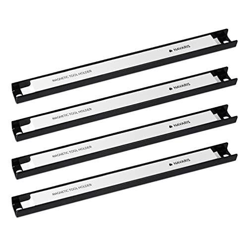 Navaris Imanes para herramientas - 4x Barra magnética para herramientas 30.5 x 2.3 CM - Set bandas imantadas para cocina garaje jardín y taller