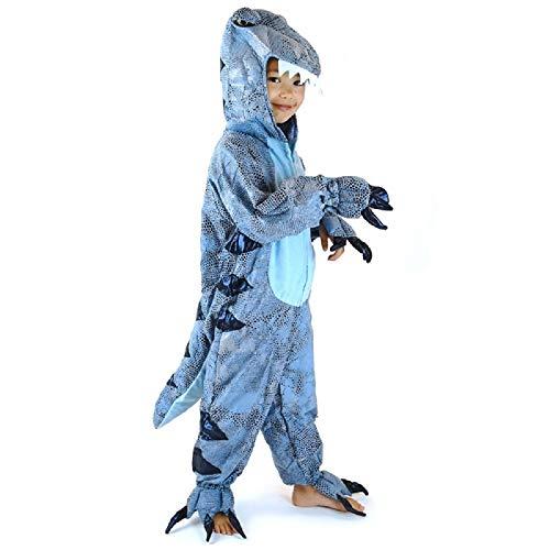 Den Goda Fen - F97605M - Dinosaurier Kostüm - Plüsch Drachen Jumpsuit - 4-6 Jahre - Gr. 110-116 - blau - Onepiece Dino, Monster