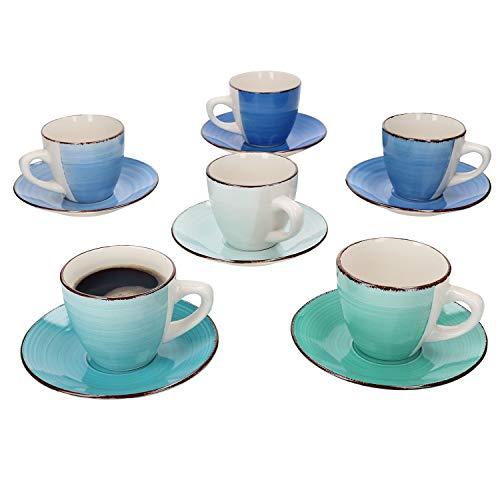 MamboCat 12tlg Kaffee-Geschirr-Set Blue-Curacao I Tee-Service pflegeleicht 6 Personen I 12-er Vintage Kaffee-Tee-Gedeck blau I Kaffeetassen & Untertassen 12-Teile Porzellan handbemalt
