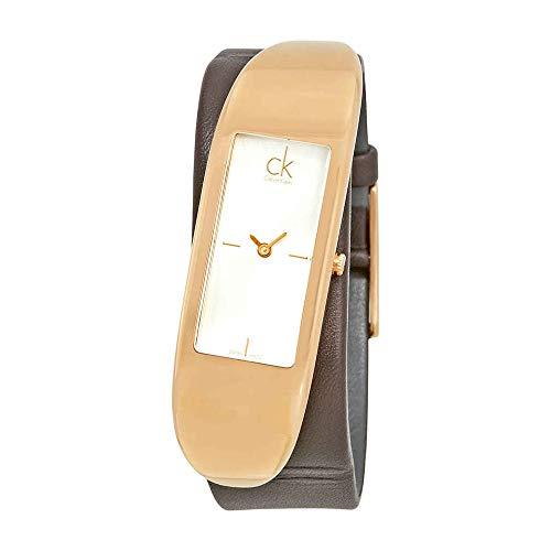 Calvin Klein Damen Analog Quarz Uhr mit Leder Armband K3C236G6