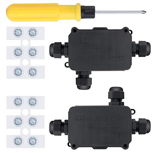 WiMas Caja de derivación impermeable IP66, caja de distribución de 3 vías, caja de distribución eléctrica exterior para cables con 4-8 mm de diámetro, 2 juegos
