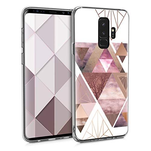 kwmobile Hülle kompatibel mit Samsung Galaxy S9 Plus - Handyhülle Silikon Hülle - Glory Dreieck Muster Rosa Rosegold Weiß