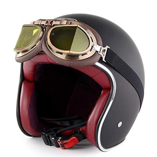 Männer Frauen Retro Motorrad Helm Mit Harley Brille Chopper Vintage Open Face Old School Motorrad Sicherheitskappen Geburtstagsgeschenk 55-64 cm