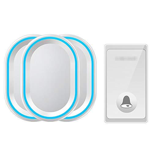 Waterdichte draadloze deurbel op afstand, 1 knopzender en 3 plug-in ontvangers met 58 geluidssignalen, volume op 4 niveaus en LED-lampje,White