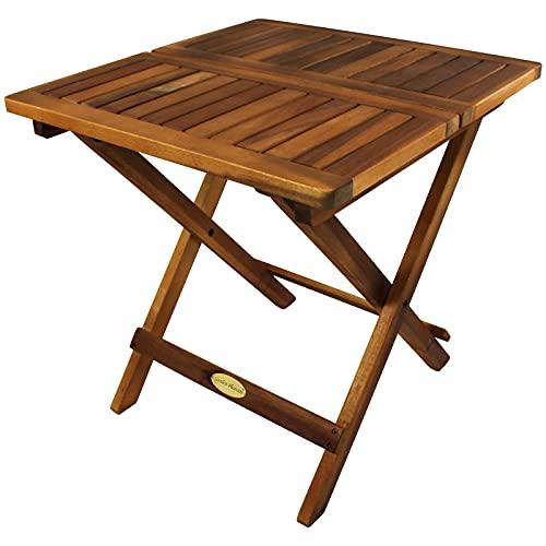 Klapptisch Cleveland Akazie eckig Beistelltisch Holz klappbar Balkontisch klein Gartentisch Holztisch...