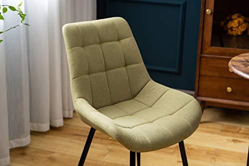 belupai Juego de sillas de comedor tapizadas con respaldo, asiento de lino y patas de metal, color verde claro