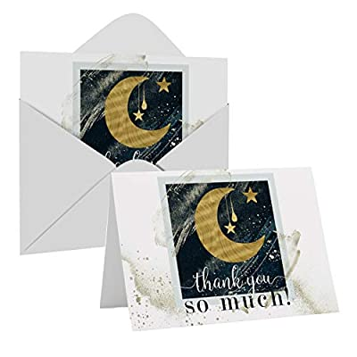 Star Moon Thank You Cards and Envelopes (25 Pack) – Thanking for Baby Shower – Wedding – Graduation – Everyday – Twinkle Cosmic Party Supplies – Blue Gold Folded Set by Paper Clever Party