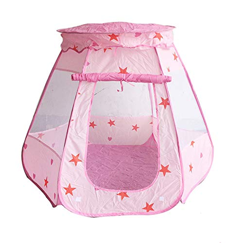 NECZXW1 Carpa de Juegos para niños emergente, Castillo de Princesa Rosa, portátil, no Requiere ensamblaje, Plegable, con Bolsa de Almacenamiento, Herramientas para Acampar en Interiores y Exteriores