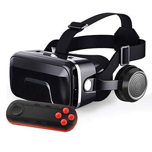 Bias&Belief Gafas VR con Mando A Distancia,Cascos de Realidad Virtual,Soporta Sistema de Ajuste Doble de Distancia Interpupilar y Objeto,para Android y iPhone de 4.7-6.5 Pulgadas,3