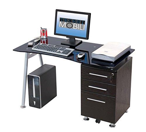 Scrivania Porta Computer PC in Acciaio e Vetro con Cassettiera My Office Record Nero