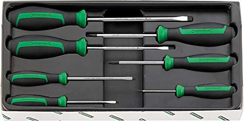 Stahlwille 96469115 Drall Werkzeug Schraubendreher Set 7-teilig, 4620 1-4 Nr. 4628 4630 Größe 1+2, 4691/7