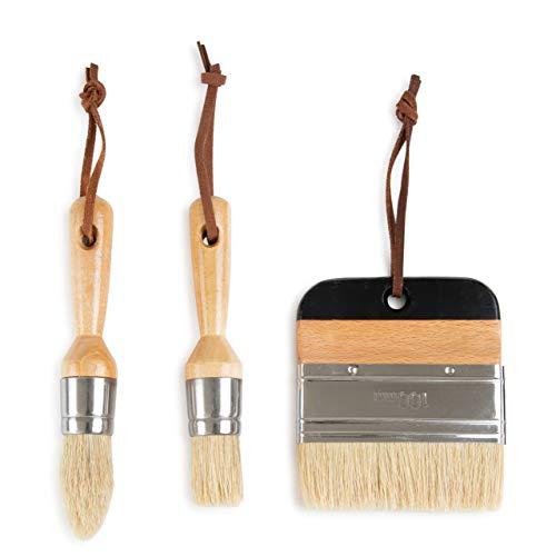 DIYARTZ 3 Piece Paint Brush Set, Perfect Chalk and Wax Paint, Natural Bristles, Thick and Durable