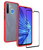 KANSI Case for Realme 5 Pro + Tempered Glass,Soft Silicone
