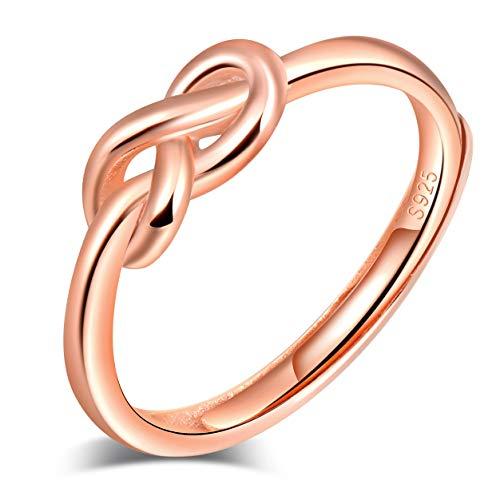 Yumilok Anillo de plata de ley 925 para Mujer, anillo abierto con símbolo de infinito, nudo de amor, oro rosa, tamaño ajustable, regalo de cumpleaños de Navidad, tamaño: 49-57