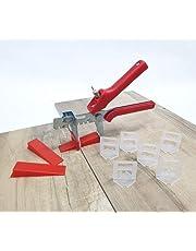 Kakel nivelleringssystem röd kakeltjocklek 3–12 mm professionellt set 3 mm 500 fickor 200 kilar + tänger -förläggningssystem kakelförläggningshjälp kakelförläggningssystem kakelplattång