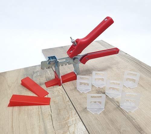 Fliesen Nivelliersystem Rot Fliesenstärke 3-12 mm Basis+-Set 1 mm 400 Laschen 100 Keile + Zange -Verlegesystem Fliesenverlegung Fliesenverlegehilfe Fliesenverlegesystem Fliesennivelliersystem