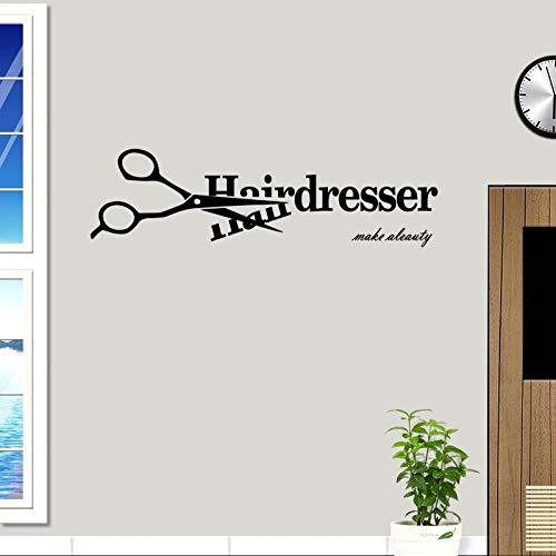 ASFGA Einfache Moderne Friseur Friseur Aufkleber Name Schere Friseur Aufkleber Haarschnitt Poster Vinyl Wandkunst Aufkleber Dekoration Fensterdekoration 30x112cm