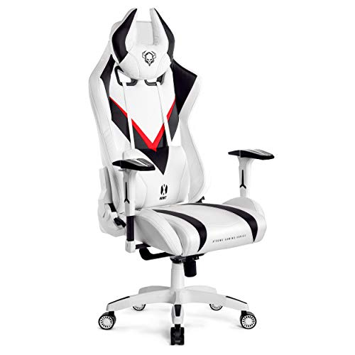 Diablo X-Hunt Sedia Gaming da Ufficio Design Ergonomico 3D Braccioli Regolabili Cuscino Lombare e del Collo Finta Pelle con Perforazione Funzione di Inclinazione S-XL (Bianco-Nero, XL)