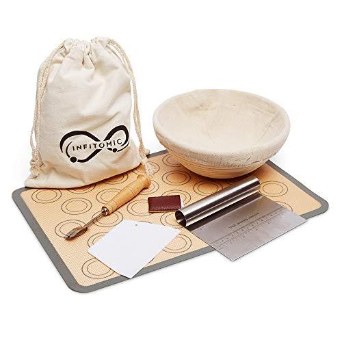 Proofing Baskets For Bread Baking, 9 inch- Baking Supplies, Sourdough Starter, Banneton, Bread, BPA Free Silicone: Baking Mat, Dough Scraper, Bread Lame, Bread Bag - Bread Baking Set