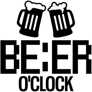 Beer O'Clock Funny Vinyl Decal Sticker | Cars Trucks Vans SUVs Walls Cups Laptops | 5 Inch | Black | KCD2630B