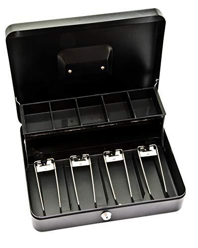 Caja de efectivo Deskit de 12 pulgadas con 2 claves así como bandeja de efectivo. Manten tu dinero seguro en el camino (Negro)