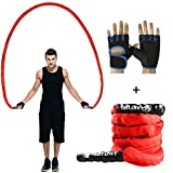 jump rope package - AUTUWT Heavy Jump Rope with Protective Sleeve,Adult Weighted Jump Rope Skipping Rope Workout Battle Ropes with Gloves for Men Women Total Body Workouts Power Training Strength
