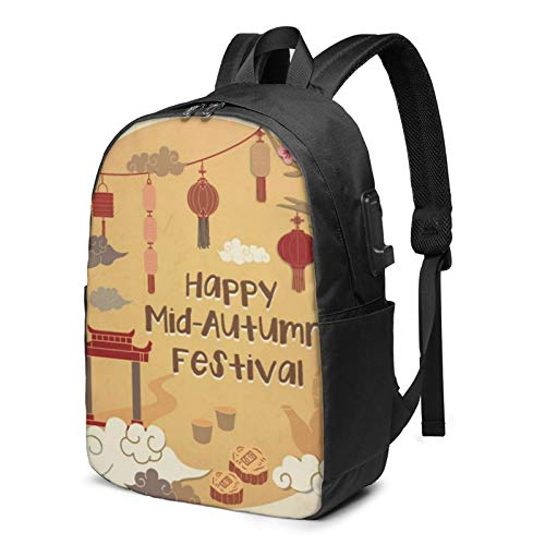 Laptop Backpack with USB Port Mooncake Whimsical Mid Autumn, Business Travel Bag, College School Computer Rucksack Bag for Men Women 17 Inch Laptop Notebook
