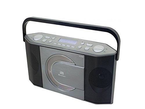Soundmaster RCD1770AN DAB+ UKW Radio CD-MP3 Spieler tragbares wiederaufladbares Radio Batterie- und Netzbetrieb LCD Display mit Datum und Uhrzeit USB und Kopfhöhreranschluss