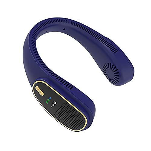 CHENPENG Ventilador de Cuello portátil, Mini Ventilador Personal Recargable USB, Ventilador de Collar Colgante de enfriamiento de 360 °, 3 velocidades, Diseño de Auriculares,Azul