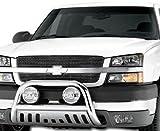 R&L Racing Chrome Hammered Stainless Steel Bull Bar Brush Bumper Grille Guard Chevy Silverado GMC Sierra