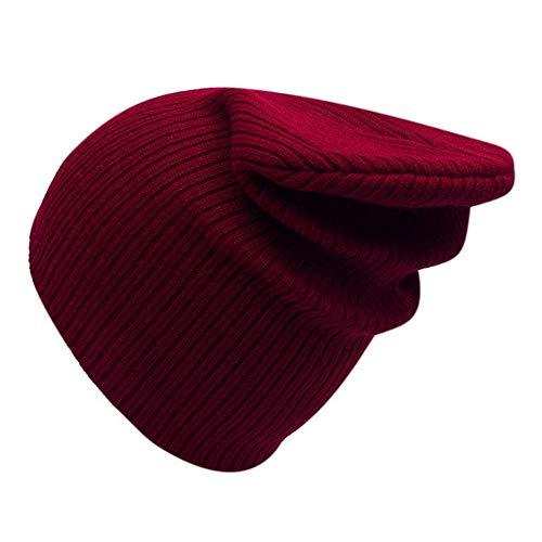CSXM Herbst Winter Strickmütze Damen Cap Damen Beanies Plain Cornice Hats Damen Solid Bonnet-B