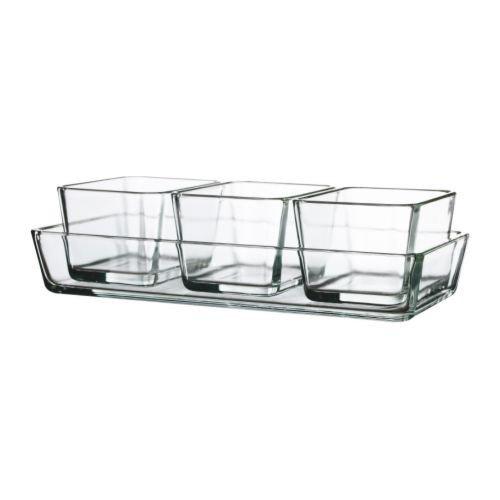 IKEA MIXTUR -Backofen / Servierplatte Satz mit 4 Klarglas