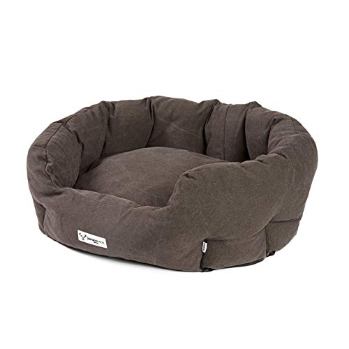JAMAXX PDB2087 Oval Dog Bed with Comfort Filling, Vintage Canvas Fabric, Cushion Cover, Washable at 30 °C, Dog Basket Basket Cover Colours in Modern Vintage Canvas Design, mud 85 x 70 cm