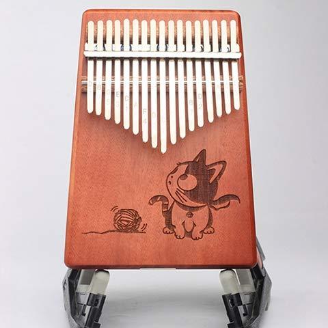 TZZD Kalimba 17 Tasten Mahagoni Daumen Klaviermuster Kinder Körper Musikinstrumente Kalimba mit Lernbuch (Farbe: Katze)