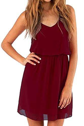 Cassiecy Damen Sommerkleid Ärmellos V-Ausschnitt Chiffon Casual doppel Schulterrieme Elegant Minikleid Partykleid (Weinrot L)