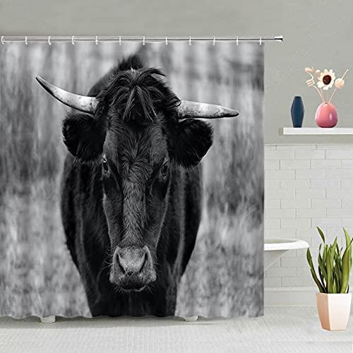 MUMUWUSG Duschvorhang 180X200Cm Schwarz Tier Kuh Textil Shower Curtains Duschvorhänge Wasserdicht Antischimmel Waschbar Mit 12 Duschvorhangringen Für Badewanne Und Bathroom