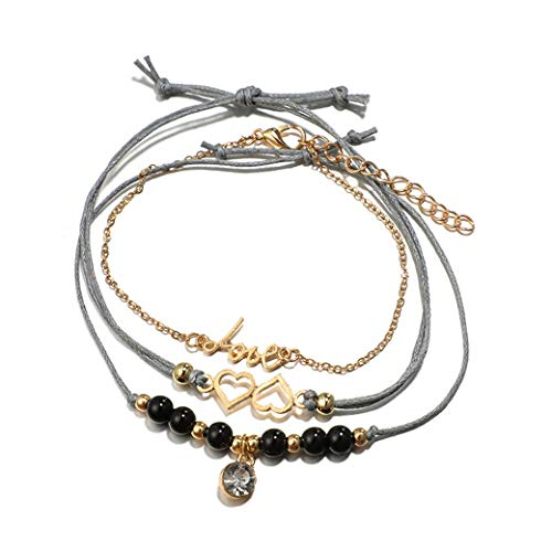 HBWHY Juego de pulseras elegante cadena de muñeca de piedra natural, pulsera de amistad, para mujeres y niñas, accesorio de joyería, regalo de 3 piezas